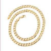 AMARILLO joyería fina de oro envío libre de los hombres Splendid 24k amarillo oro collar cadena sólida 23.6inch