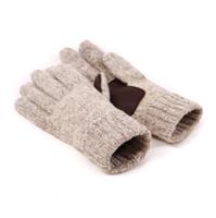 Мужская вязать пять пальцев перчатки 2 Классический цвет бежевый серый зимние перчатки 60% шерсть и натуральная кожа противоскользящие рукавицы