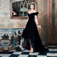 Una línea elegante fuera del hombro abendkleider robe de soiree vestido de noche de terciopelo negro vestido de festa alto bajo vestidos de baile 2016