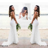 Katie May Mermaid Beach Lace Abiti da sposa Modest Fashion Spaghetti Backless Paese Bohemian Fishtail Abito da sposa
