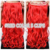 Le migliori vendite 30 clip di colore nell'estensione dei capelli 5 clip un pezzo 130g piena testa corpo onda rosso marrone biondo in magazzino capelli sintetici spedizione gratuita