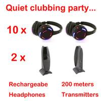 Écouteurs sans fil à leds système complet Silent Disco - Quiet Clubbing Party Bundle (10 casques + 2 émetteurs)
