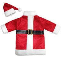 1 Set Carino Red Wine Bottle Cover Borse Babbo Natale Dinner Table Decorazione Vestiti Con Cappelli Home Decor Party Decorazione di Natale