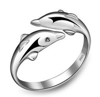 도매 쥬얼리 스털링 925 실버 고급 돌고래 반지 꼬리 조절 크기 귀여운 여성 패션 액세서리 선물