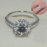 Vecalon Hakiki Kadın Takı yüzük 2ct Simüle elmas Cz Kadınlar için 925 Ayar Gümüş Nişan düğün Band yüzük Hediye