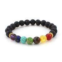 Al por mayor-Muti-color Pulseras para hombre Negro Lava 7 Chakra Healing Balance Beads Pulsera para mujeres Reiki Oración Yoga Pulsera Piedras