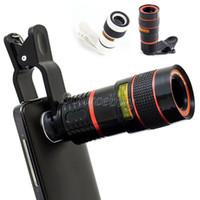 Lente da câmera óptico teleobjectiva para iphone samsung htc smartphone telescópio do telefone móvel universal 8x zoom lente com clipe de ampliação dhl