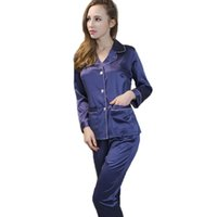 Wholesale- Blue silk long sleeve cloth + long pants home wear women  nightwear pajamas set with turn-down collar high quality drop shipping 4bb47cbe5