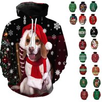 겨울 크리스마스 풀오버 후드 여성 남성 3D 스웨터 Pug 스노우 트리 모자 사슴 고양이 개 산타 클로스 브랜드 의류 까마귀 플러스 사이즈 6XL