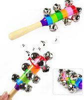 1 PC 나무 막대기 10 징글 벨 레인보우 손 흔들어 벨 딸랑이 아기 어린이 교육 장난감