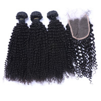 Kinky Curly Hair Weft With Closure 7A Unprocessed Brazilian ...