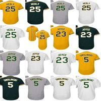 Adults Ladys Youth Toddlers Oakland 25 Ryon Healy Jersey 23 Matt Joyce 5 Jake Smolinski Grey Green White Gold Baseball Jerseys