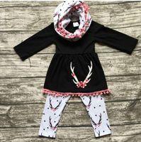 GÜZ Bebek Kız Giysileri Çocuk Butik Giyim Setleri Kızlar Eşarp + Püskül Uzun Kollu Elbise Siyah Üst + Pantolon Çocuk Kıyafetler 3 Parça Pamuk