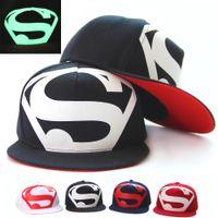 Gorra luminosa fluorescente Sombrero de superman Hip hop en la gorra de hip-hop Sombrero de verano plano Sombrero Gorra de béisbol
