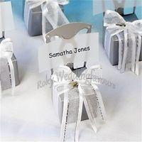 ENVÍO GRATIS 36PCS Silla en miniatura Caja de favor con corazón Charm Organza Ribbon n Tarjeta de papel Favores del banquete de boda Eventos Regalos