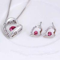 Juego de joyas Pendientes de boda Joyas de cristal de plata Collar largo Juego de regalo Juego de joyería de joyería africana India