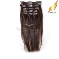 유행 인간의 머리카락에 머리카락 확장 머리카락 자연 버진 인간의 머리카락 # 2 컬러 스트레이트 20inch 100g / 세트 Bellahair