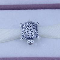 أصيلة 925 فضة diy الخرز لصنع المجوهرات سلحفاة سحر مع زركون يناسب باندورا نمط أساور أفضل هدية 1 قطعة / الوحدة