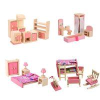 الخشبي الأثاث دمية مجموعة الوردي بما في ذلك حمام غرف النوم مطبخ الاطفال 4 مجموعة للدمية