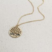 Tree Of Life Gold Leaf Vida Love Letter Gold Pendant Necklace Mulheres camisola cadeia colar de jóias
