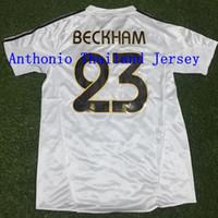 톱 2004/05 레트로 레알 마드리드 축구 유니폼 빈티지 클래식 0405 Zidane Beckham Ronaldo R.Carlos Raul Camisetas Futbol Shirts Camisa 축구 셔츠 Maillot 드 발