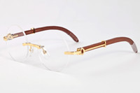 con la scatola di 2020 mens moda occhiali da sole rotondi marroni chiari mens senza montatura lenti degli occhiali da sole delle donne della struttura di legno lunette gafas de sol