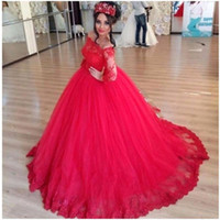 Georgeous Tulle Appliqued Robe De Bal Quinceanera Robes De L'épaule À Manches Longues Doux 15 Longue Prom Party Robes robe de baile BA3220