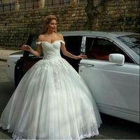 New Arrival Ball Gown Off the Shoulder Wedding Dress Tulle Appliqued Lace Vestido De Festa Floor Length Romantic Wedding Gown