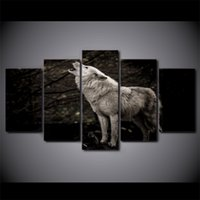 5 Pcs Set Framed HD Printed Howling White Wolf Animal Night ...