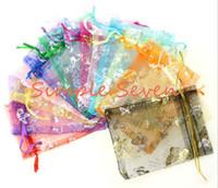 [Basit Yedi] 100Pcs 7x9cm Gloden / Gümüş Kelebek Organze Drawable Düğün Hediye Muti Renkler Takı BagsPouches Packaging Ambalaj
