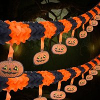 Fiesta de Halloween Tire Flor Decoración Papel de Halloween Garland Banners Flores de calabaza Colgando Tipo Home Hotel Office Party Garden Bar Decoración