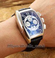 Alta qualità a buon mercato Nuovo Cintree Curvex 8880 CC QP B automatico Mens Watch Moon Phase quadrante nero argento cinturino in pelle orologi