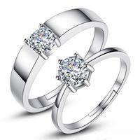 Silver Diamond Bague Amants Réglable Couple Bijoux Femmes Anneaux Anneaux de fiançailles Pour Femmes Mariage Hommes Anneaux