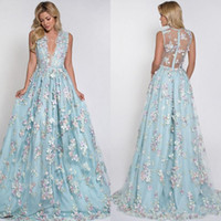 Mint Blue Sexy 3D Floral Appliqued Prom Dresses Long Deep V-...