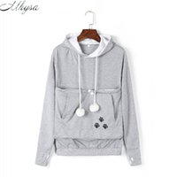 Wholesale- 2017 New Cartoon Hooded Hoodies Lover Cats Kangaroo Dog Hoodie Long Sleeve Sweatshirt Front Pocket Casual Animal Ear Hoodie 020