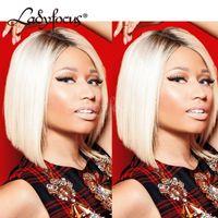 Nicki Minaj Sarışın Tam Dantel İnsan Saç Peruk Karanlık Kökleri Renk 613 Siyah Kadınlar Için Dantel Ön Peruk Iki Ton Bob Peruk
