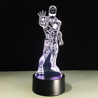 2017 Standing Iron Man 3D Illusion Night Lamp 3D Optical Lam...