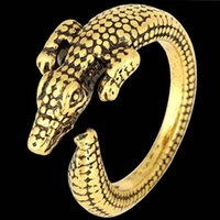 vintage copper plated alloy punk Gavial Alligator ring child...