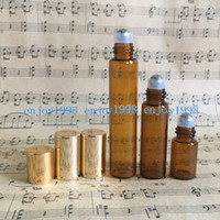 1100Pcs 3ml 5ml 10ml Amber Roll on Glass Bottles Essential O...