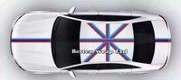 파란 흰색 빨간색 플래그 후드 줄무늬 자동차 스티커 데코에 대 한 보닛, 지붕, 트렁크에 대 한 폭스 바겐 / 미니 DIY 자동차 데 칼 15cmx30m / 롤
