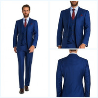 2018 Custom Made Mens Wedding Suits Slim Fit Groom Tuxedos W...