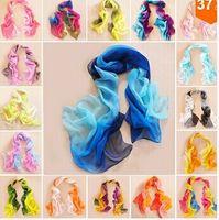 Envío Gratis 33 Estilos 160X50cm Nuevas Mujeres de Moda Georgette Larga Wrap Shawl Beach Bufanda de Seda Bufandas Accesorios de Moda