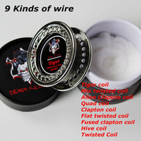 Demon Killer Flat twisted Wire Fusionado Clapton Hive Alien Mix Twisted Quad Tiger 15 pies rollo de bobinas con algodón orgánico para Vaping DHL
