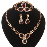 Nuevo próximo rubí Conjuntos de joyería de cristal austriacos Collar Pulsera Pendientes Anillo Anillo Fiesta de boda Traje Joyería Conjunto Cajas