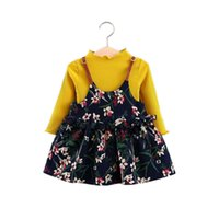 noble baby girl dress suspenders flowers cotton dress for 9M...