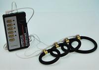 Venta al por mayor Descarga eléctrica Anillo del pene Negro Silicona Pene Anillos de pene Eyaculación Pulso Terapia física Disfunción eréctil para hombres 22