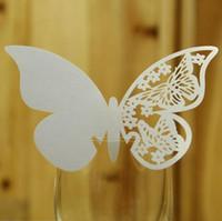 나비 종이 장소 에스코트 카드 컵 카드 와인 유리 카드 결혼식 장식 테이블 장식 액세서리