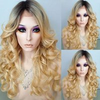 Perruque Brésilienne Human Hair Wave 1B / 613 2tone Ombre Perruque pleine dentelle avec poils bébé perruque de cheveux humains non transformés pour les femmes