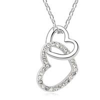 Bruiloft sieraden hart kristal hanger mode ketting 18 k wit vergulde make met Swarovski elementen Gratis verzending 6 kleuren 10391