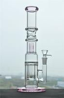2 Fonksiyon Pembe Düz Cam Borular Çift Perc Geri Dönüşümlü Petrol kuleleri Ile Buz Cotach Ücretsiz Kargo Cam Bongs 14mm Kadın Ortak Cam Kase